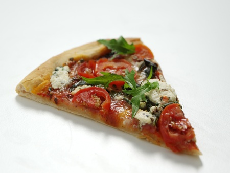 Pizza slice on isolated white background