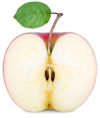 Photo for cut half an Apple with a green leaf isolated on white - Royalty Free Image