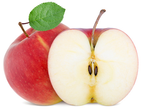 Photo for full apple and  cut slice isolated on white background - Royalty Free Image