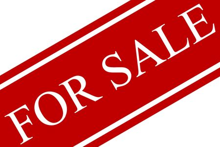 For sale sign in red and white on an angle with white background