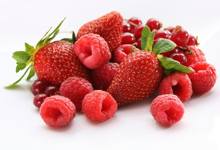 assorted mixed berries isolated on white