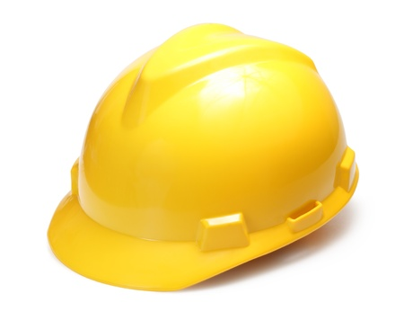 Photo pour Yellow construction hard hat isolated on white - image libre de droit
