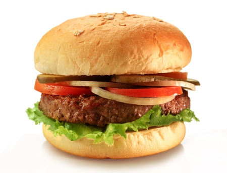Delicious juicy grilled burger on wheat buns