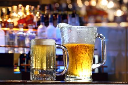 Cold refreshing beer at a bar