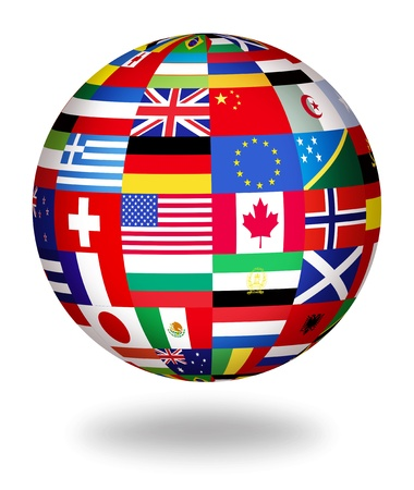 Foto de Floating globe covered with world flags - Imagen libre de derechos
