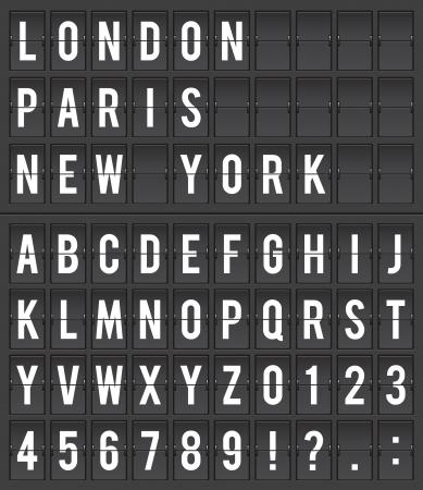 Flight destination information display board vector illustration