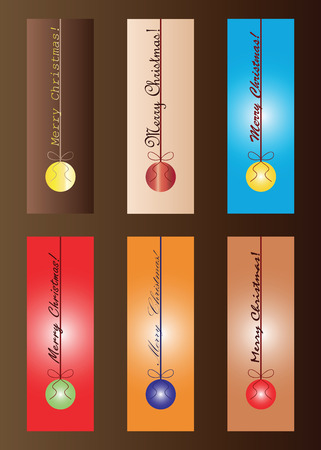 Illustration pour set of six Christmas bookmarks in multiple colors vector - merry Christmas wishes - festive theme - image libre de droit