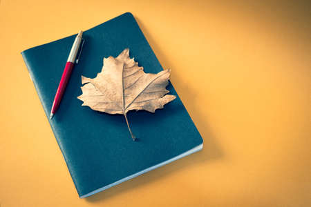 Photo pour A notebook is placed on a light brown background, above the black cover rests an autumn dry leaf and an elegant biro pen, ample space for text on the right side of the image. - image libre de droit