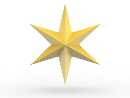 Photo for Gold Christmas star isolated over a white background - Royalty Free Image