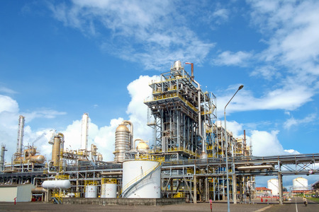 blue sky and refinery plant