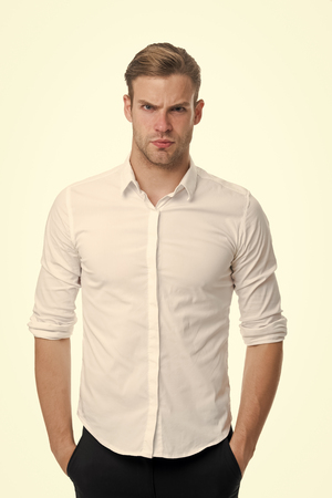 Photo pour Young and confident. Man well groomed unbuttoned white collar elegant shirt isolated white background. Macho confident ready work office. Guy office worker handsome attractive puts hands pockets. - image libre de droit