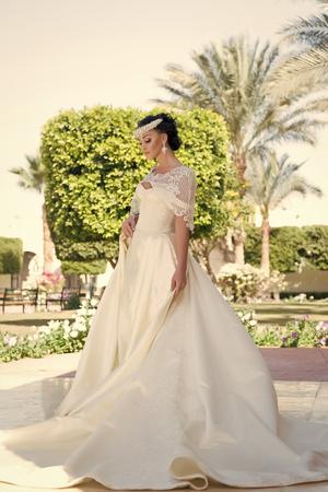 Foto de wedding dress. beautiful wedding dress for pretty bride. woman in wedding dress. wedding day for woman in dress. Amazing choice - Imagen libre de derechos