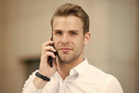 Photo pour Ask information. Businessman calling client hold smartphone urban background defocused. Man manager phone conversation. Guy with smartphone call friend. Mobile call concept. Successful business call - image libre de droit