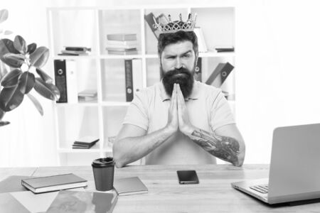 Head of department. Man bearded manager businessman entrepreneur wear golden crown. Top manager head office. Confident boss enjoying glory. Head and boss concept. I am the best. King of office