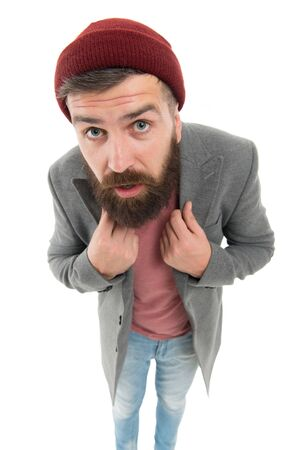 Dressing with style. Trendy hipster with mustache and beard in brutal hipster style. Fashion caucasian man wearing casual style. Bearded man with fashionable hair style