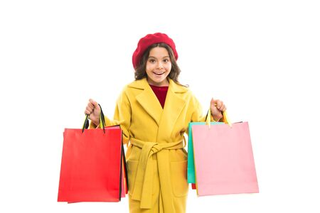 Photo pour Shopping and purchase. Black friday. Sale discount. Shopping day. Child hold packages. Scoring major discounts. Tips and tricks for profit. Favorite brands and hottest trends. Girl with shopping bags - image libre de droit