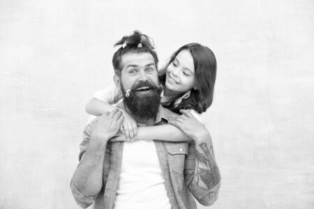 Foto für Raising girl. Create funny hairstyle. Child making hairstyle styling father beard. Being parent means present for kid interests. Change hairstyle. Daughter hairstylist. Enjoy fatherhood. Happy moment - Lizenzfreies Bild