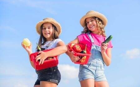 Photo pour Full of joy. harvest vitamin. spring market garden. healthy food is happy life. children farming. autumn harvest. small girls vegetable in basket. Only natural. kids on summer farm. Organic food - image libre de droit