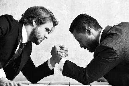 Photo pour Business, partners, crisis and confrontation concept - image libre de droit