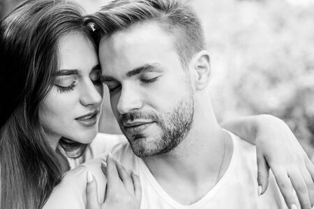Photo pour One and only. couple relax outdoor. Tender feeling. girl with guy in park. Beauty and fashion. happy valentines day. summer vibes. family weekend. romantic date. couple in love. Skin and hair care - image libre de droit