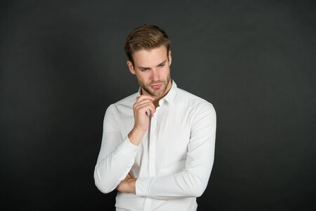 Photo pour Mens personal care. Serious man dark background. Handsome guy with unshaven face. Skin care routine. Skincare. Haircare. Barbershop. Hair salon. Mens grooming and care. Care and health - image libre de droit