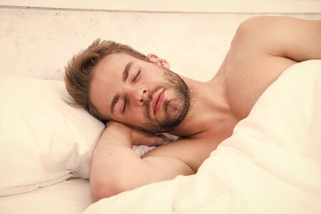 Photo for Enough amount sleep every night. Health care concept. Circadian rhythm regulates sleep wake cycle. Man handsome unshaven guy in bed. Tips sleep better. Bearded man relaxing on pillow. Soft pillow - Royalty Free Image