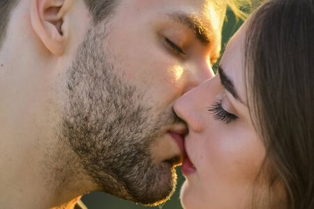 Photo for Softer than silk. delicate gorgeous kiss. man kiss woman. couple in love. I love you. Closeup mouths kissing. romantic relations. married couple kissing love on honeymoon. kissing couple portrait - Royalty Free Image