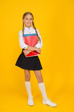 Photo for education online while quarantine. learning well bring successful future. knowledge day. childhood development. school girl wear uniform. pretty little girl ready to study. back to school - Royalty Free Image