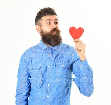 Photo pour Valentines day concept. Man with happy face celebrates valentines day - image libre de droit