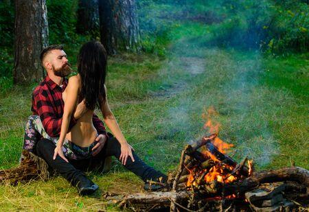 Photo pour Couple full of desire going make love outdoor. - image libre de droit