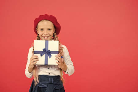 Thank you so much. Birthday wish list. Happy birthday concept. Girl kid hold birthday gift box. Every girl dream about such surprise. Birthday girl carry present with ribbon bow. Art of making gifts