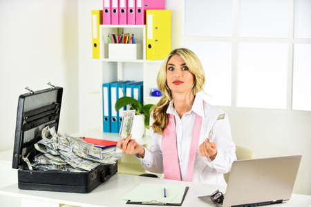 Photo for You will meet with unexpected success. Accountant office. Financial success. Happy woman counting money. Business investment. Successful investment. Business success. Accounting and banking - Royalty Free Image