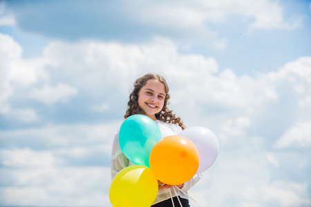 Photo pour Freedom concept. Happiness is simple. Fresh air. Cheerful girl have fun. Happy birthday. Summer holidays and vacation. Childhood happiness. Adorable joyful teen celebrate party. Happiness concept - image libre de droit