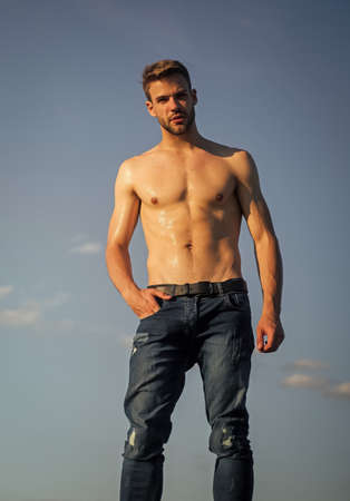 Photo for Be strong. naked strong man. muscular strong man has wet body. athletic body shape. shirtless guy relax at sunrise. young athletic guy with muscular body. sportsman and fitness model - Royalty Free Image