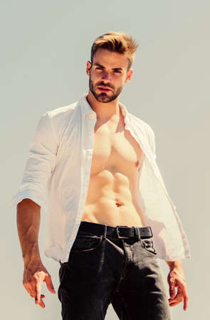Photo for male sexuality. Bearded guy casual style. Handsome man fashion model. muscular man sexy torso. strong belly of athlete. fitness trainer. sport is healthy life. body desire. sexy macho man - Royalty Free Image
