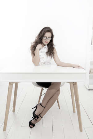Photo for Luxury and success. sexy business lady. businesswoman in office. office manager woman sit at table. Business speaker ready for conference. dress code is required. Self education concept - Royalty Free Image