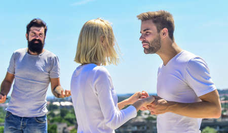 Photo pour Love triangle. Partners relations. Difficult relationships. Romantic relations. Relations problem. Marriage and divorce. Jealous feeling. If any of you has reasons why these two should not be married - image libre de droit