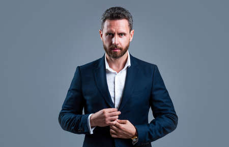 Photo for boss man in jacket with groomed beard hair, fashion - Royalty Free Image