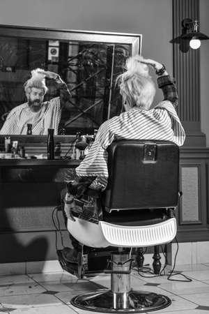 Foto für Know What Haircut You Want. Visit hairdresser. Beauty routine. Maintaining shape. Grow beard and mustache. Man at barbershop. Hairdresser salon. Barbershop client. Trimming beard. Barbershop services - Lizenzfreies Bild