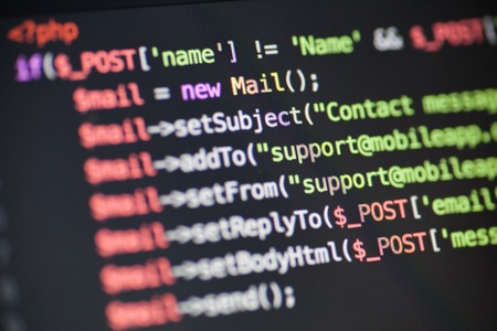PHP code lines on a monitor