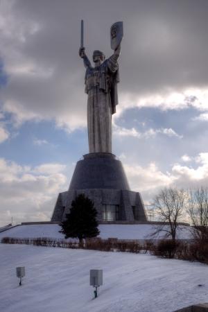 Monument in Kiev - Rodina - Mother on sky background