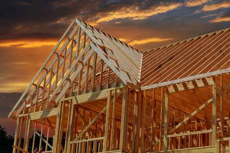 Photo pour wooden roof construction, symbolic photo for home, house building, and house financing - image libre de droit