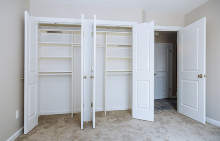 Photo pour Home renovation industry new home installation of shelves with room area - image libre de droit