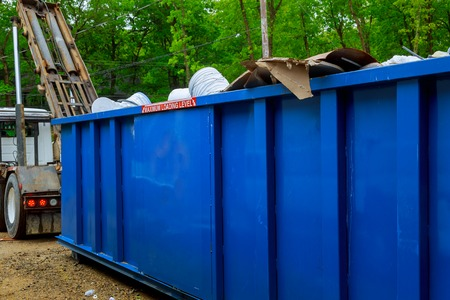 Photo for Blu dumpster, recycle waste recycling container trash on ecology and environment Selective focus - Royalty Free Image