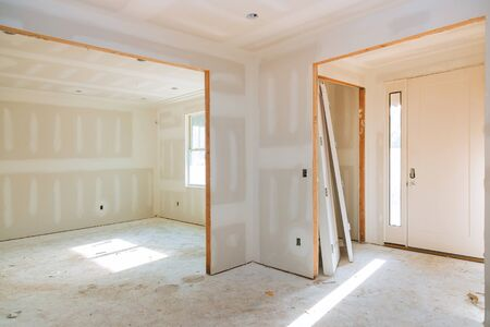 Photo for Construction building industry new home construction interior drywall tape and finish details installed door for a new home before installing - Royalty Free Image