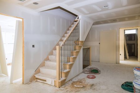 Photo pour Interior construction of housing project with door and molding installed construction materials - image libre de droit