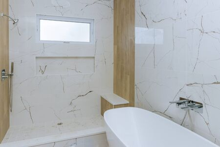 Photo pour Modern design bathroom interior an open in shower in the new house - image libre de droit