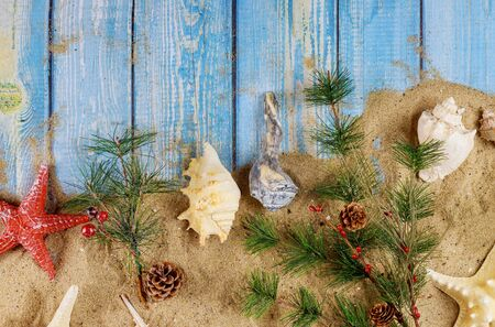 Foto de Christmas with vacation holiday on sand the background seashells and starfish on wooden board - Imagen libre de derechos