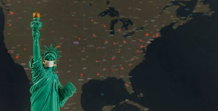 Photo for Pandemic Covid-19 Coronavirus in USA Quarantine, US map of Covid-19 in the statue of liberty - Royalty Free Image