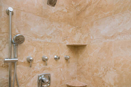 Photo pour Refreshing after remodeling ready bathroom with tile to around the tub shower - image libre de droit